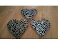 3 wicker hearts