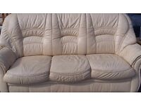 REAL LEATHER SOFA SET 3 seater + 2 ArmChairs used in Good Condition FREE DELIVERY LOCAL