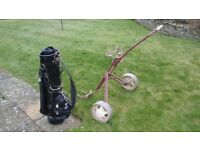 Golf bag by Slazenger with some tubes, twenty balls twenty tees and detachable cover for club heads