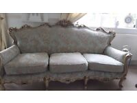 Fantastic Louis Style 3 Piece Suite Ivory Gilt Wood 3 Seat Sofa & 2 Armchairs