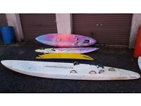 3x Wind Surfing / Paddle boards and an old style surf board