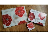 Glass Worktop saver Placemats and coasters
