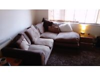 Good quality furniture for quick sale: Corner sofa, ottamen, pine table 5 chairs, cosy large rug.