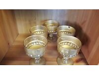 Five Gold-painted Glass Goblets