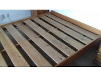 Wooden Slatted Base Double Bed with Mattress Helston Area