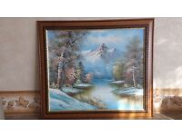 Winter Landscape Framed Painting.Size 29 inches x 25.5.
