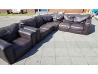 REAL LEATHER L SHAPE And ARMCHAIR BROWN USED