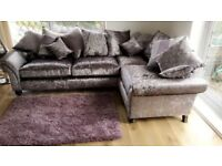 PERFECT CONDITION crushed velvet corner sofa.