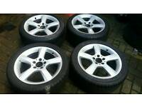 MERCEDES BENZ 17 INCH 5 SPOKE ALLOY WHEELS 5X112 C E CLASS AMG A B SL SLK CLK VW GOLF PASSAT SEAT