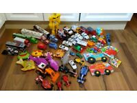 Toys- bundle of vehicles, soft toys and books.