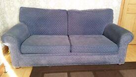 Blue corduroy 3 seater sofas.
