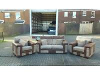 Beautiful 2, 1, 1 seater sofa in chordory and suede fabric like new!