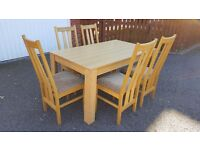New Oak Veneer Dining Table 150cm & 5 Oak Dining Chairs FREE DELIVERY (02538)