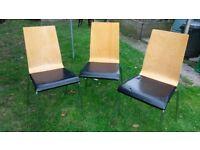 Three wooden kitchen/ dining chairs