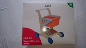 New wooden shopping trolley, still boxed