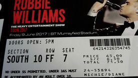 Robbie Williams Concert Ticket. Friday 9th June. Murrayfield Stadium £50
