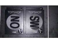2 x Topshop Slogan Tights Size S/M Brand New