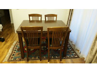 Expending Walnut Dining Table and 4 Chairs