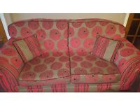 GORGEOUS PAIR OF RED PRINT SOFAS FOR CHEAP