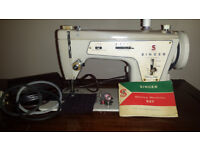 VINTAGE ELECTRIC SINGER 237 FASHION MATE SEWING MACHINE WITH CABINET AND PEDAL