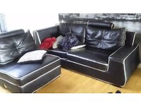 Real leather corner sofa (large)