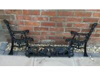 Cast iron bench ends and back rail for a child bench zoo theme