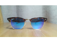 Ray Ban 3016 Clubmaster blue mirrored sunglasses