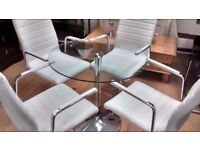 stunning glass and chrome dining table set