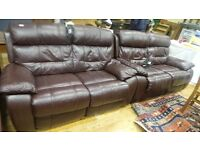 Two Real Leather Brown Electric Recliners Sofas,Very Good Condition DELIVERY