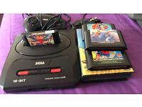 Sega Megadrive Console 2 Controllers & 6 Games