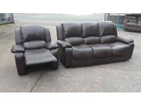 black thre seater plus reclyner chair good condition can deliver