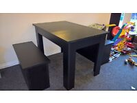 Black dining table and 2 benches from Argos