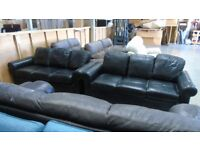 PRE OWNED Black Leather 3 + 2 Seater Sofas