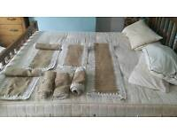 7 hemp and lace table runners.