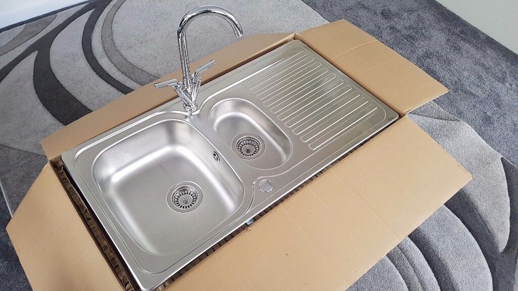 Leisure linear Kitchen Sink and Deva lever tap unused removed from ...