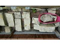 Broken concrete blocks suitable for shed or oil tank base foundations .