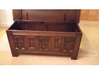OLD CHARM DARK OAK BLANKET TOY BOX RUG CHEST COFFEE TABLE, etc
