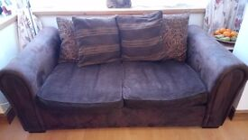 Sofa bed - 3 seater brown suede and cord metal spring action sofa bef