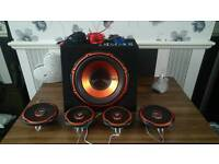 Edge sub and 4 door speakers + sony. Mex-n4100bt cd player
