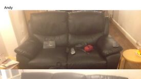 2 and 3 seater black leather sofa £150