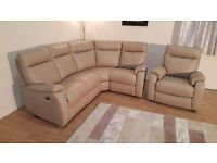 Ex-display Jemima cream leather electric recliner corner sofa and standard chair