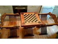 Chess Table and Chairs. Savonarola style. Lion head arms. Rare item.