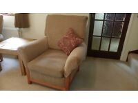Two seater sofa and chair.