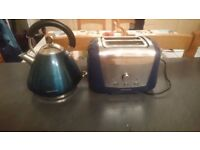 Morphy Richards blue kettle and matching toaster