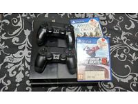 Ps4 console with ONE games and two controllers and all cables