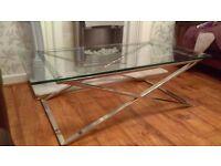 Quality HEAVY glass chrome base table