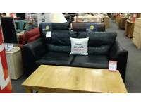 Black leather sofa bed (British Heart Foundation)