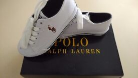 NEW POLO RALPH LAUREN SCHOLAR NOVELTY WHITE KIDS SHOE TRAINER SIZE UK10.5 EU27.5 NEW