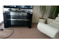 Stylish Modern Black Glass Glossy TV Table With Two Shelfs Underneath Bargain