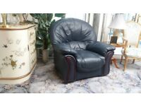 Leather 3 Seat Sofa and Chair. Great used Condition. (Hardly Used) Full Navy Hide